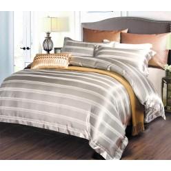 Шелковое постельное белье из жаккарда серебристое в нежную полоску