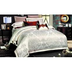 Шелковое постельное белье из жаккарда кремовое с нежным орнаментом