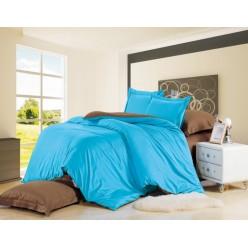 Комплект постельного белья сатин однотонный синий с коричневым
