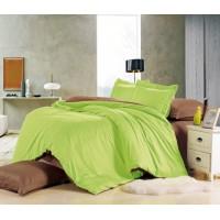 Семейный комплект постельного белья сатин однотонный зеленый с коричневым