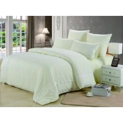 Однотонное постельное белье с гипюром светло желтый