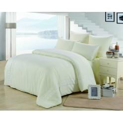 Однотонное постельное белье с гипюром кремовое