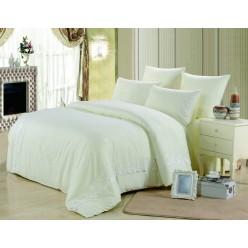 Однотонное постельное белье с гипюром белое