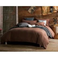 Однотонный комплект постельного белья софткоттон коричневый