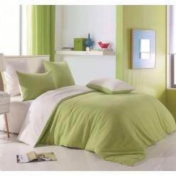 Комплект постельного белья однотонный оливковый с серым отворотом