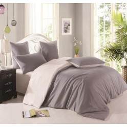 Комплект постельного белья однотонный цвета графит с серым отворотом