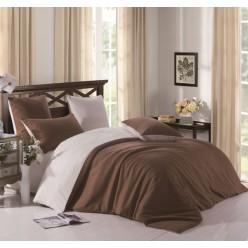 Комплект постельного белья однотонный коричневый с серым отворотом