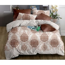 Комплект постельного белья софткоттон коричневый с орнаментом