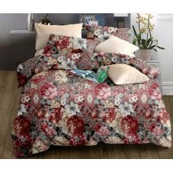 Комплект постельного белья бордовый с цветами