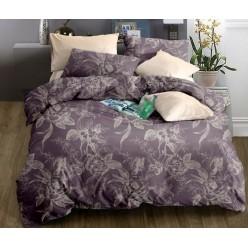 Комплект постельного белья софткоттон дымчато фиолетовый с орнаментом