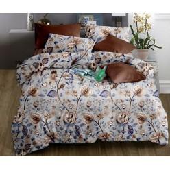 Комплект постельного белья коричневый с цветами