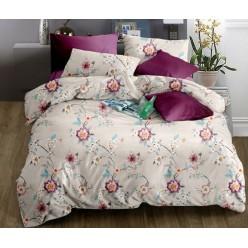 Комплект постельного белья кремовый с цветами