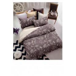 Комплект постельного белья двусторонний коричневый с орнаментом