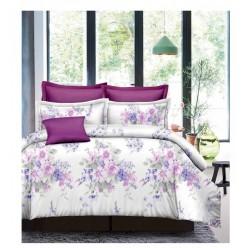 Комплект постельного белья белый с фиолетовыми цветами