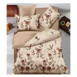Комплект постельного белья двусторонний бежевый с цветочками