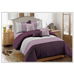 Комплект постельного белья софткоттон в широкую фиолетовую полоску