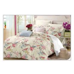 Комплект постельного белья кремовый с яркими птичками