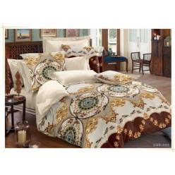 Комплект постельного белья двусторонний бежевый с орнаментом