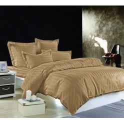 Однотонное постельное белье из сатина бежевое
