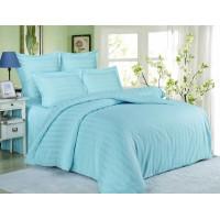 Комплект постельного белья сатин однотонный с полосками нежно голубой