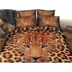 Постельное белье 3D премиум сатин коричневое с леопардом