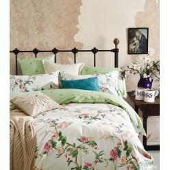 Комплект постельного белья сатин кремовый с зеленым