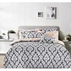 Комплект постельного белья премиум сатин двусторонний серый с орнаментом