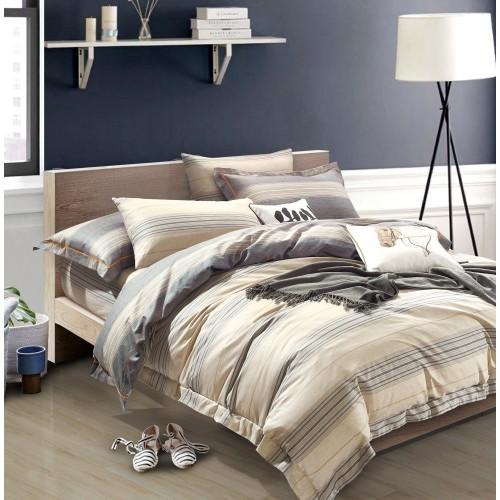 Комплект постельного белья премиум сатин двусторонний бежевый в полоску