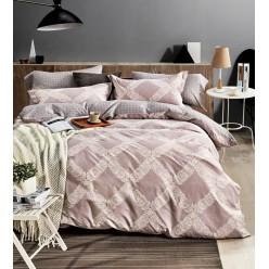 Комплект постельного белья двусторонний премиум сатин бежевый в ромб