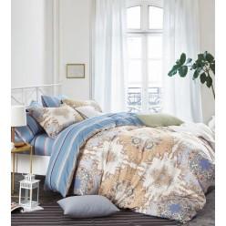 Комплект постельного белья премиум сатин двусторонний бежевый с синим