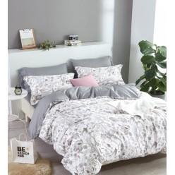 Комплект постельного белья двусторонний премиум сатин белый с серым отворотом