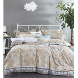 Комплект постельного белья премиум сатин бежевый с орнаментом