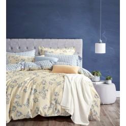 Комплект постельного белья двусторонний премиум сатин цвета пудры с голубым отворотом