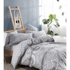 Комплект постельного белья двусторонний премиум сатин светло серый