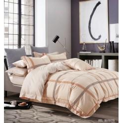 Комплект постельного белья премиум сатин бежевый в стильную клетку