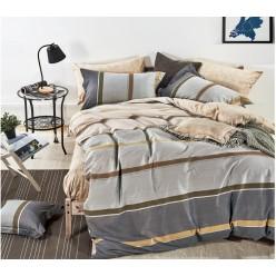 Комплект постельного белья премиум сатин двусторонний серый в полоску