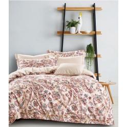 Комплект постельного белья премиум сатин двусторонний бежевый с орнаментом