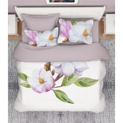Комплект постельного белья премиум сатин двусторонний 3D кремовый с цветами
