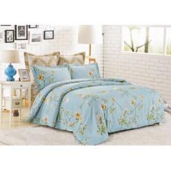 Комплект постельного белья сатин голубой с цветами