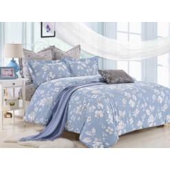 Комплект постельного белья сатин дымчато голубой с белыми цветами