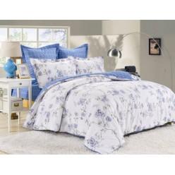 Комплект постельного белья двусторонний сатин белый с голубым отворотом