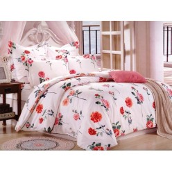 Комплект постельного белья сатин кремовый с красными цветами