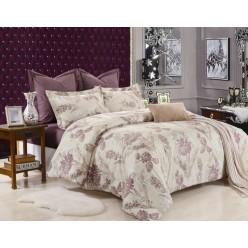 Комплект постельного белья сатин фиолетовый с кремовым