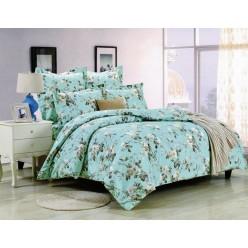 Комплект постельного белья сатин бирюзовый с белыми цветами