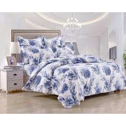 Комплект постельного белья сатин белый с синими водорослями