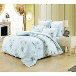 Комплект постельного белья сатин белый с серыми цветами