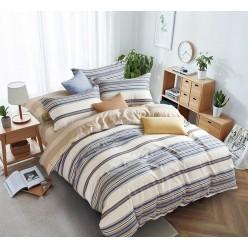 Комплект постельного белья сатин бежевый в синюю полоску