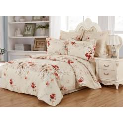 Комплект постельного белья сатин светло бежевый с красными цветами