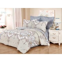 Комплект постельного белья сатин бежевый с красивым орнаментом