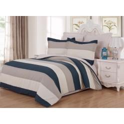 Комплект постельного белья сатин кремовый с серыми и синими полосками
